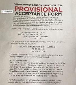 London Marathon provisional acceptance form